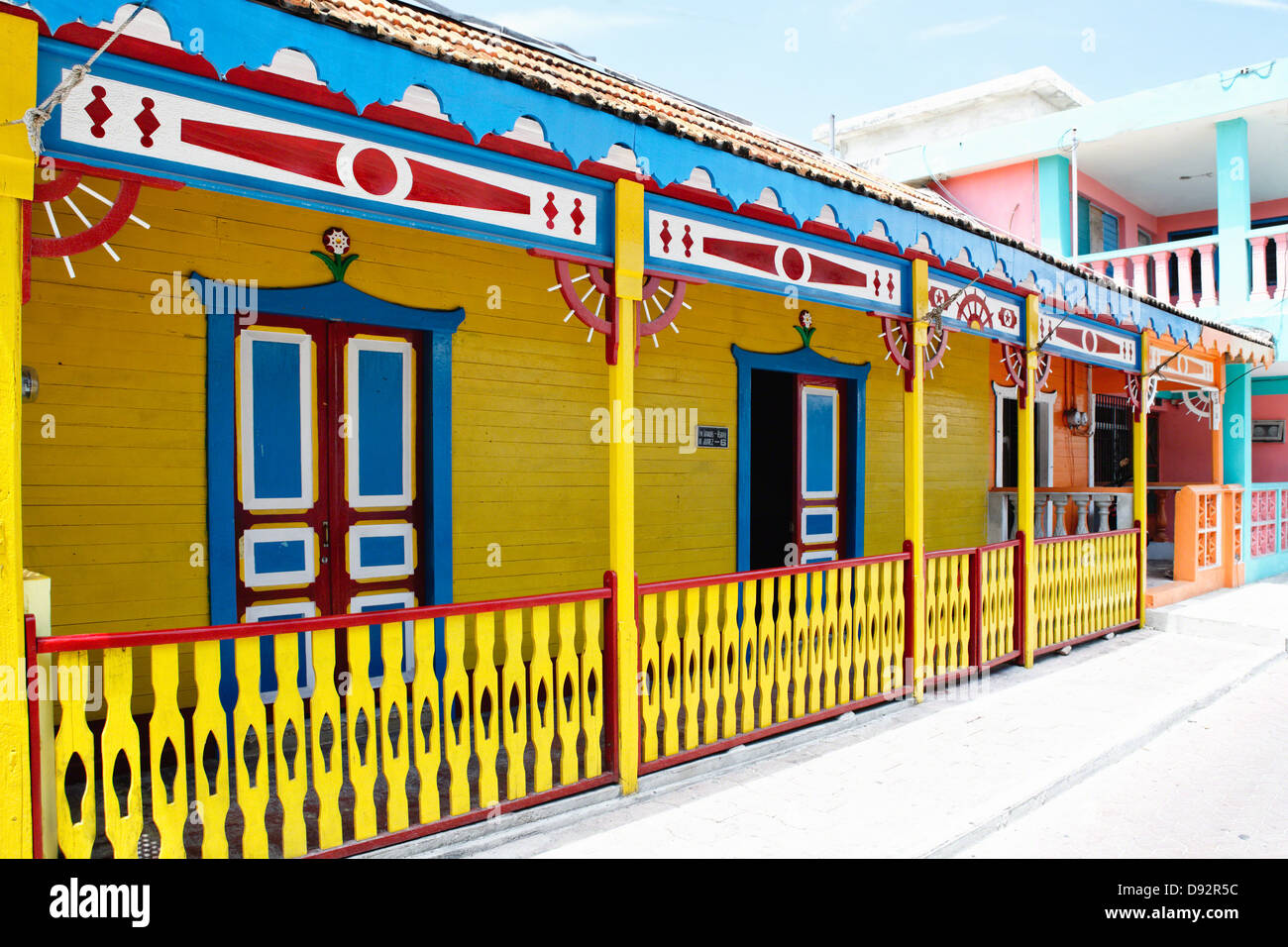 Colorful Traditional House on a Street, Isla Mujeres, Quintana Roo, Mexico - Stock Image