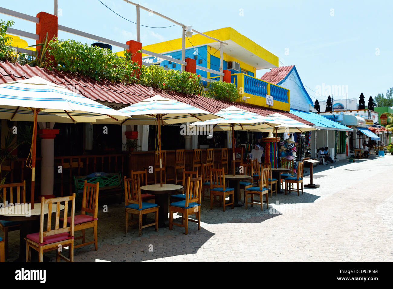 Restaurant Tables Outdoors, Isla Mujeres, Quintana Roo, Mexico - Stock Image