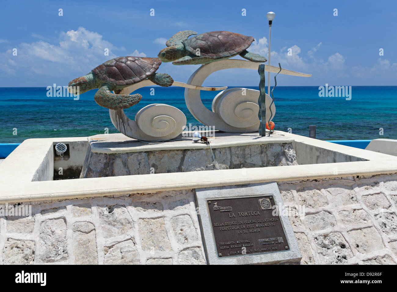 Turtle Sculpture on Isla Mujeres, Quintana Roo, Mexico - Stock Image