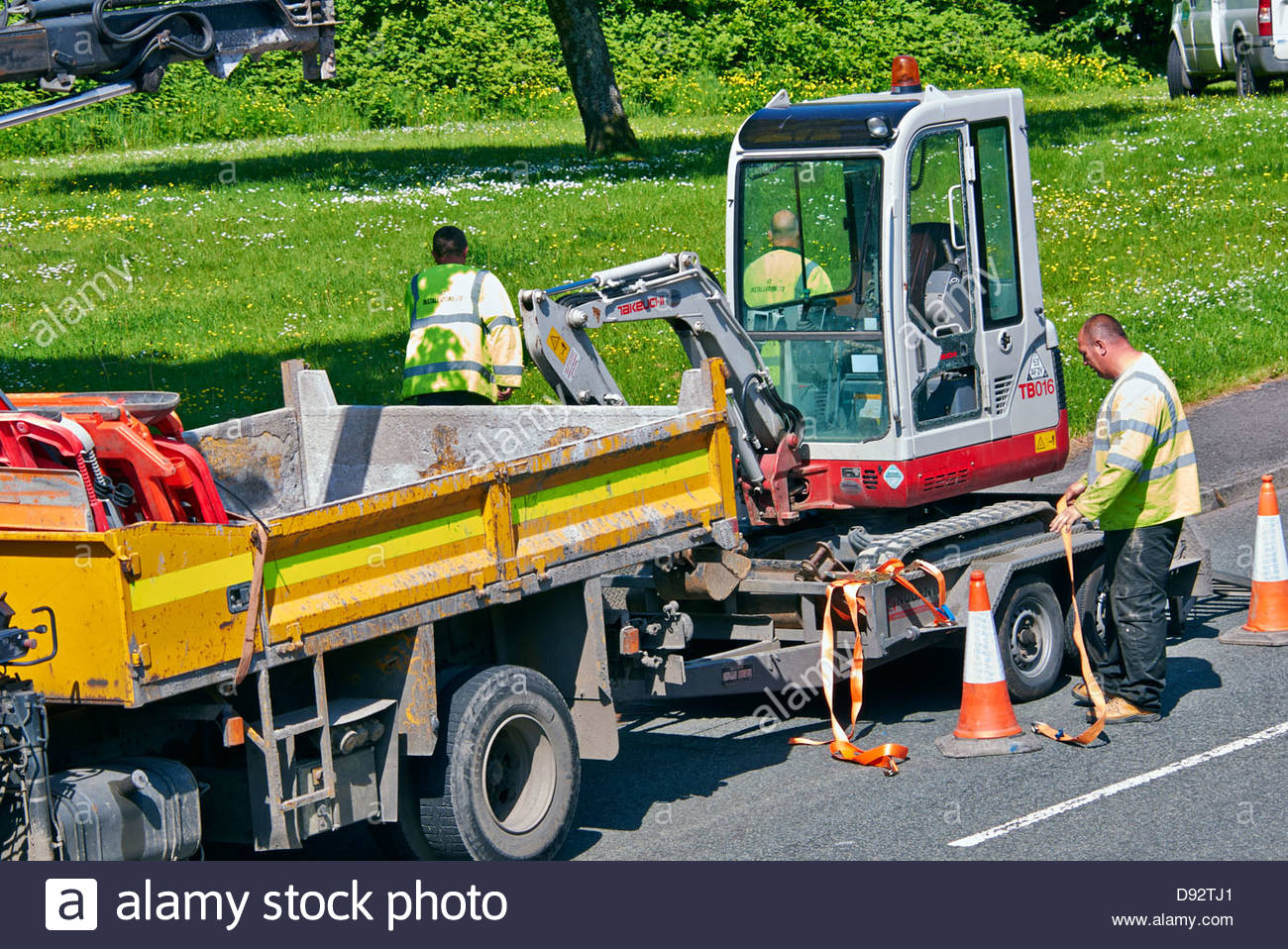 workman unstrapping secure straps on trailer to release mechanical excavator mini digger - Stock Image