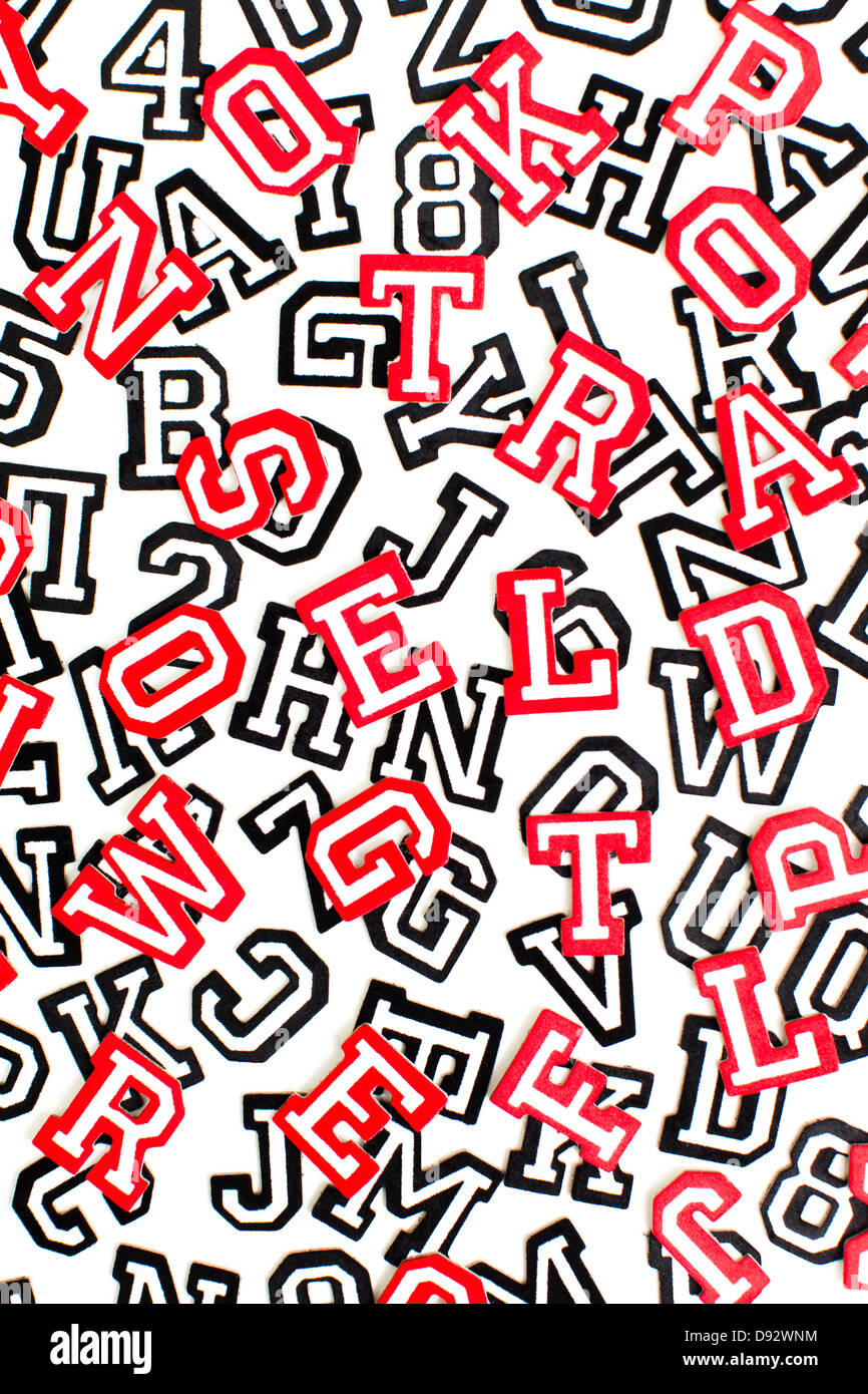A bunch of varsity font sticker letters and numbers in red and black outline - Stock Image