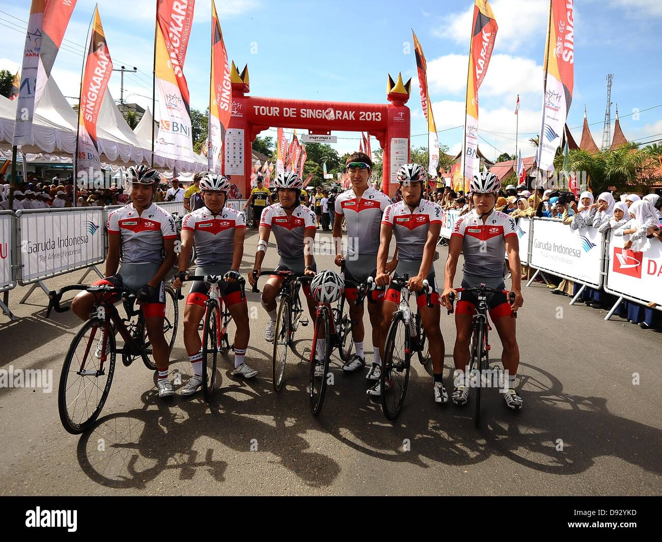 4e6b05498 Japan National Team posed before start at Stage 4 Tour de Singkarak 2013  from Sijunjung -