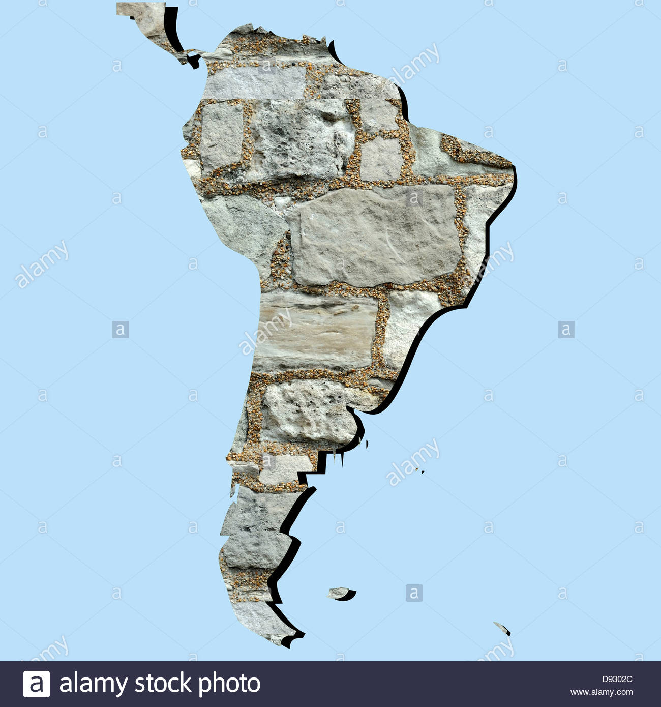 Digital Composite Map Of South America And Ancient Wall Stock Photo