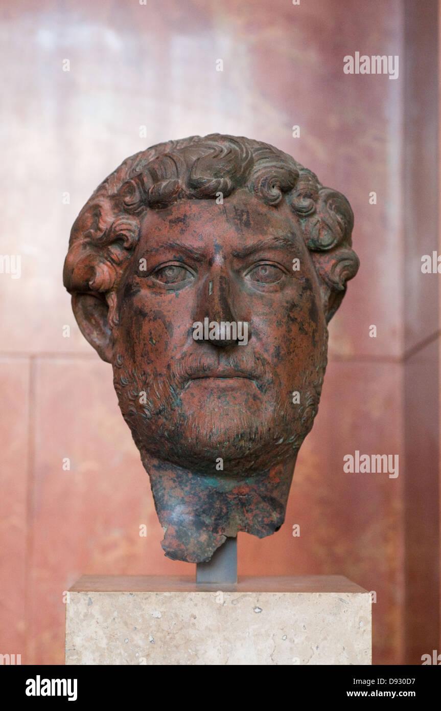 Emperor Hadrian, bust in bronze 140 after JC; Egypt ? Paris Louvre Museum - Stock Image
