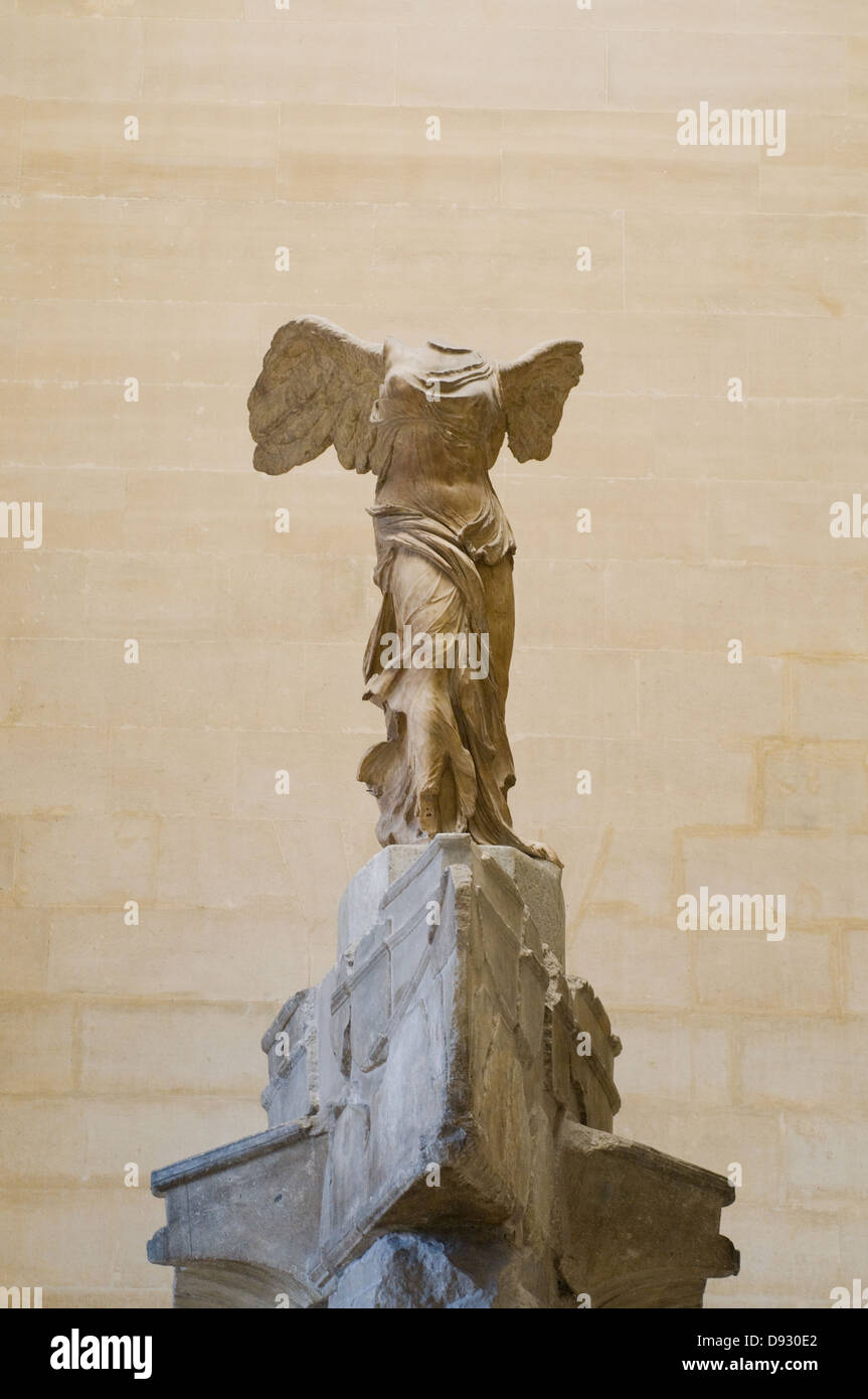 Victory of Samothrace to 190 BC Isle of Samothrace (island of the North Aegean) Louvre Museum Paris - Stock Image