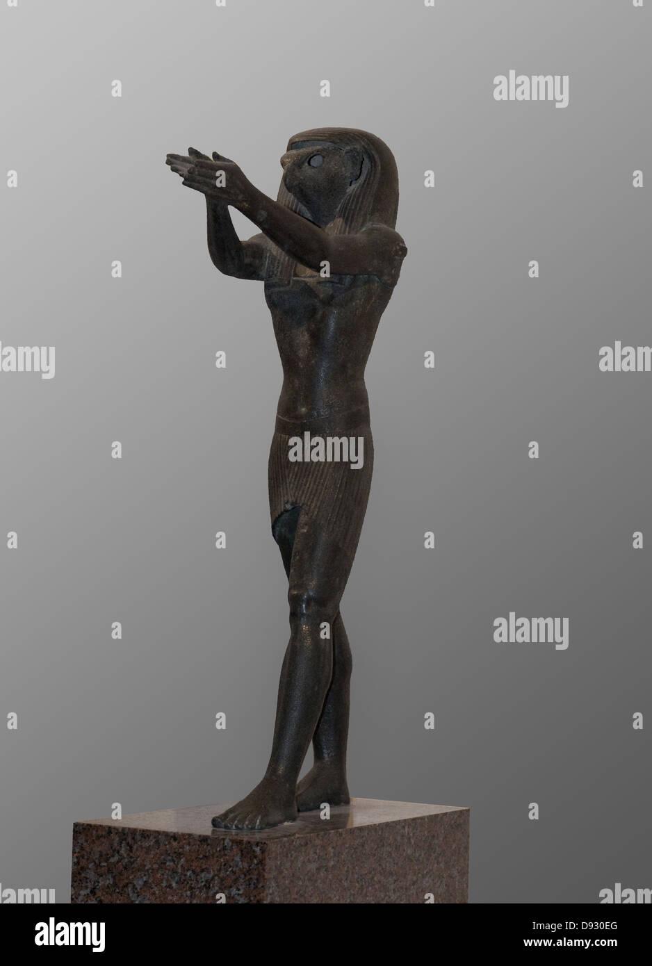 Statue of the god Horus 1069-664 BC Ancient Egypt Louvre Museum Paris - Stock Image