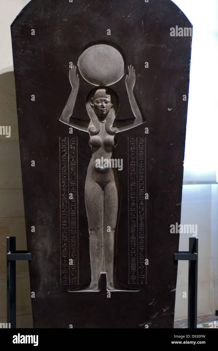 Sarcophagus lid Djedhor Fourth century BC Louvre Museum Paris - Stock Image