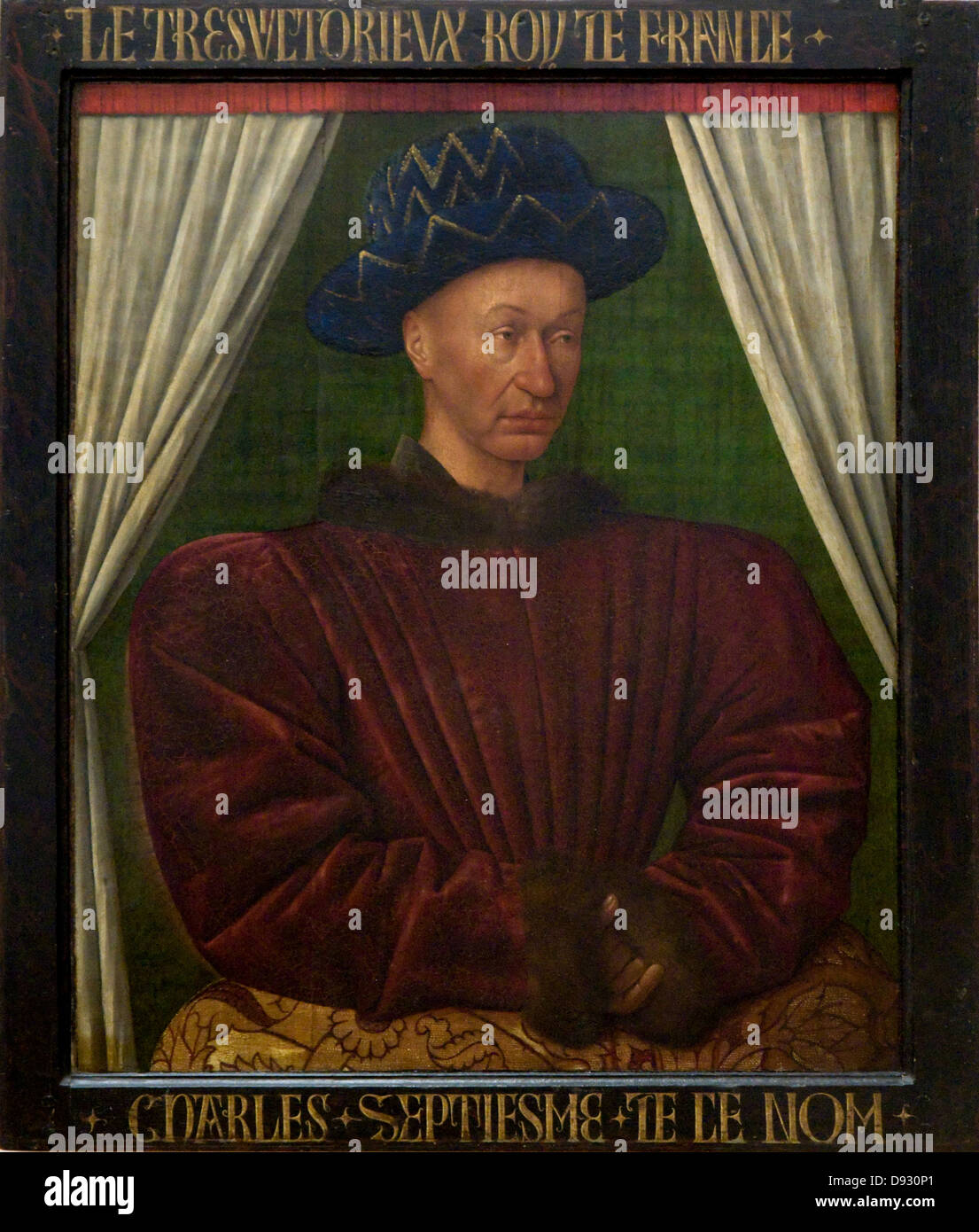 Jean Fouquet Charles VII - King of France XV th century Paris - Louvre Museum french school Stock Photo