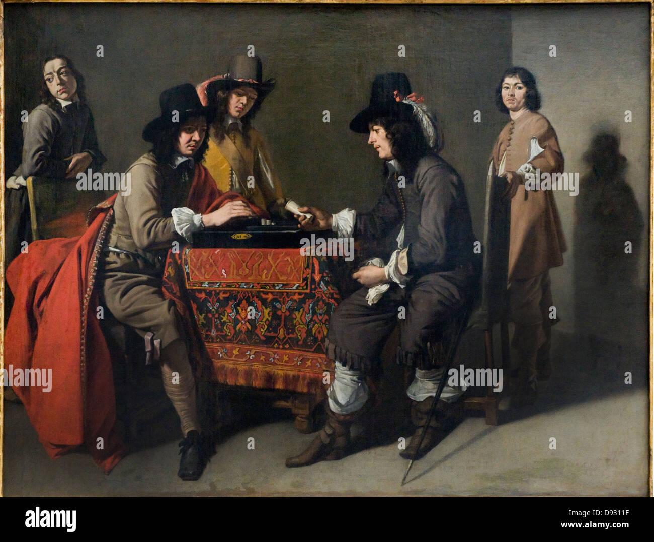 Maître des Jeux Middle of the XVII century Les joueurs de tric-trac - tric trac players French school - Stock Image
