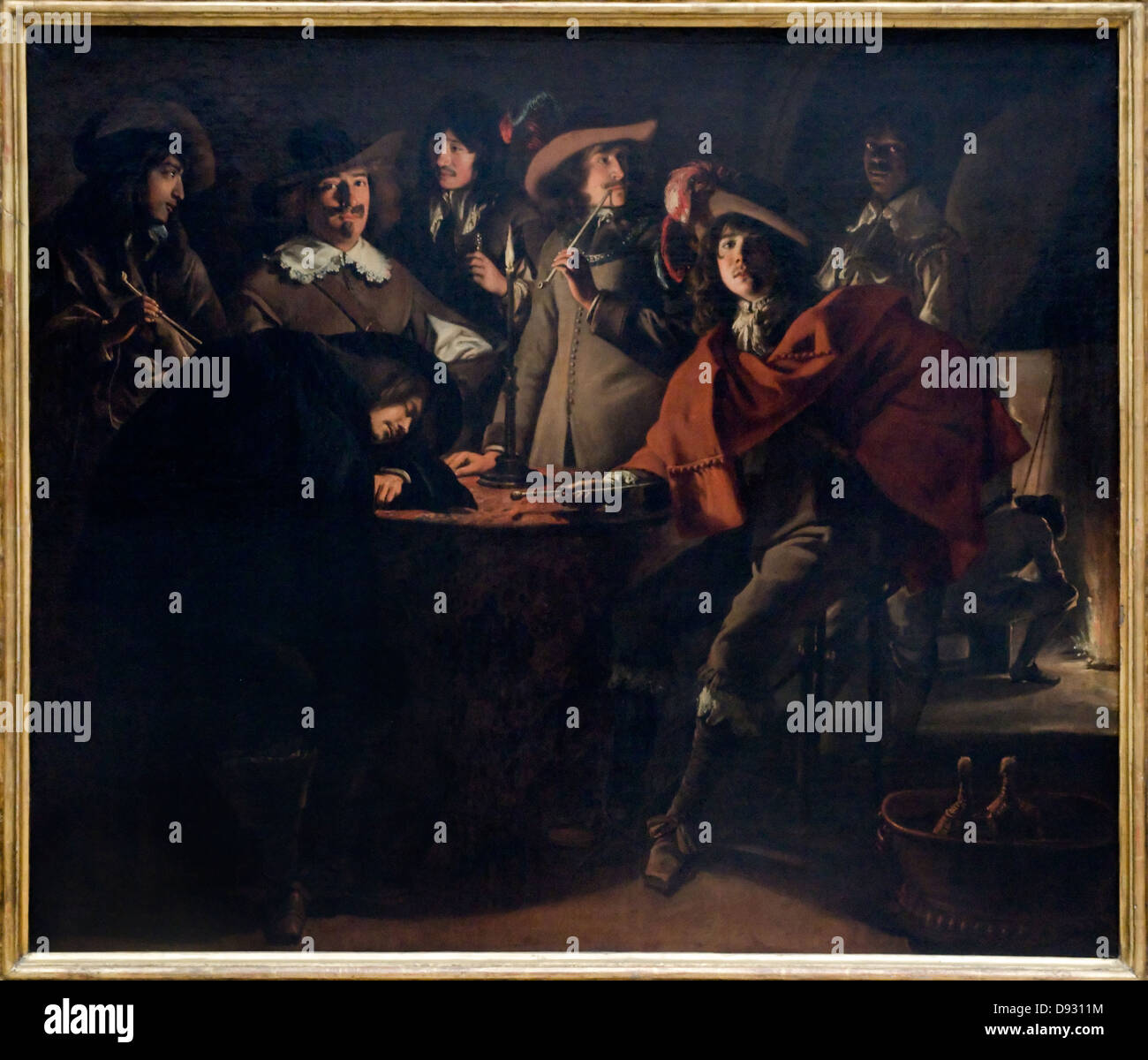 Louis (or Antoine) Le Nain La tabagie ou le corps de garde - smoking 1643 French school - Stock Image