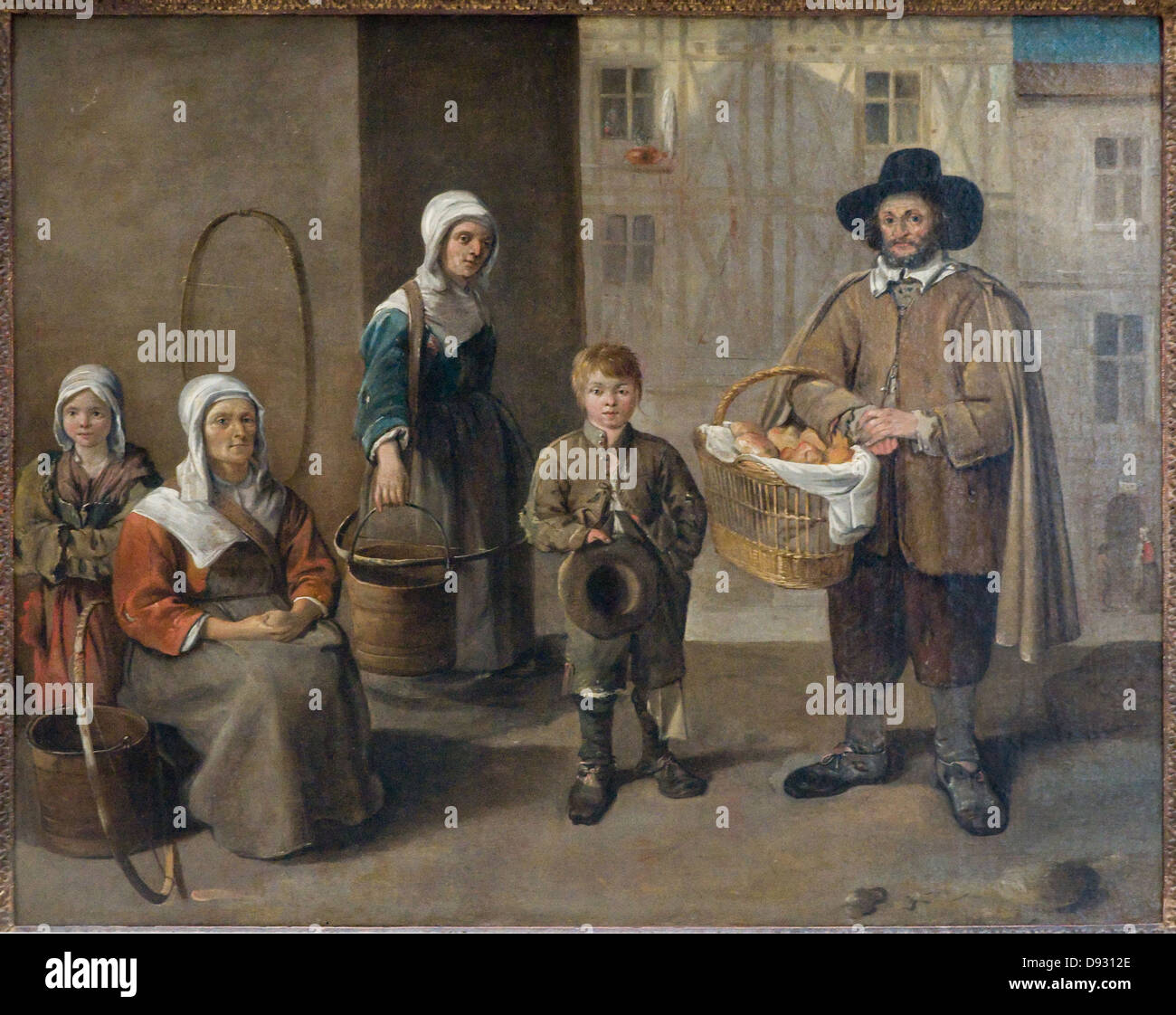 Jean Michelin Les Marchands de pains et les Porteuses d'eau - The Merchants of bread and water carriers 1650 - Stock Image