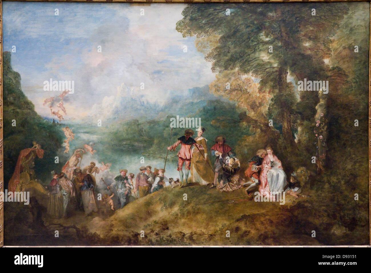 Antoine Watteau Pélerinage à l'île de Cythère - Pilgrimage to Cythera 1717 Fête galante - Stock Image