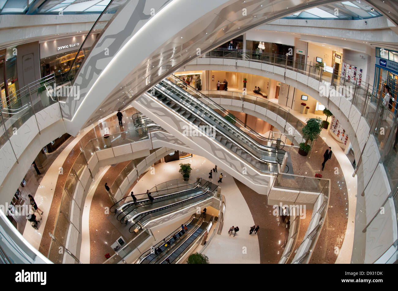 Modern Chinees Interieur : Interior of a new modern chinese shopping mall shanghai china
