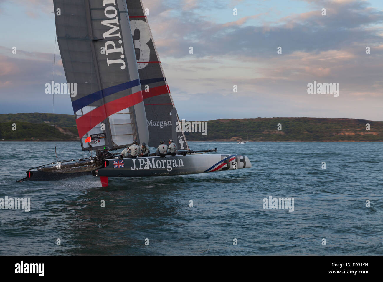 J.P.Morgan AC45 catamaran helmed by Ben Ainslie while sailing round the island race Isle of Wight UK - Stock Image