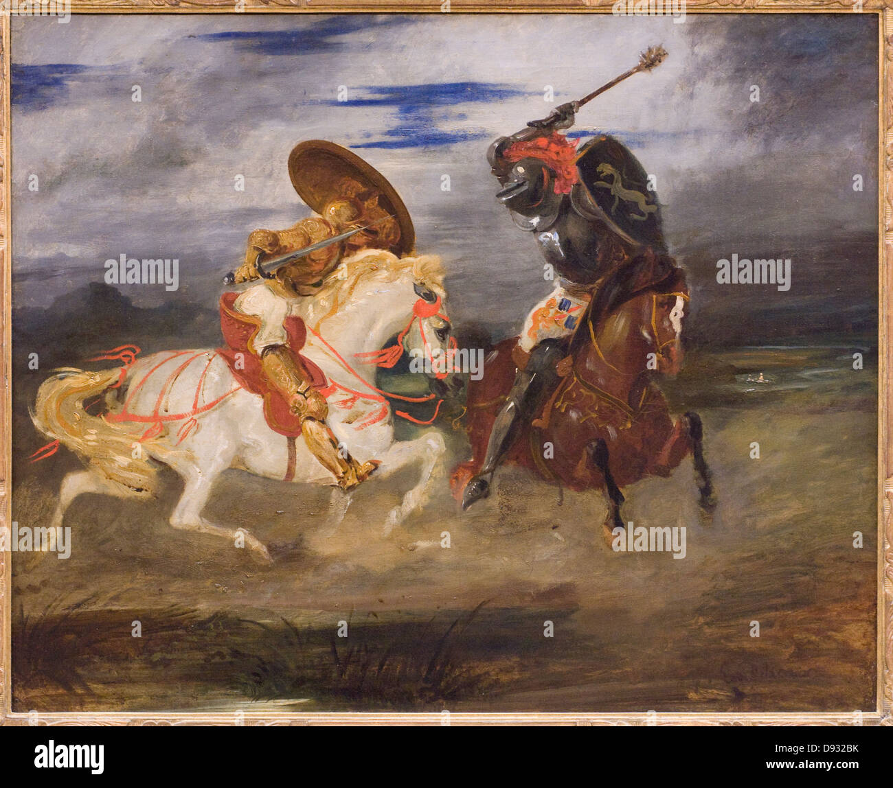 Eugène Delacroix Combat de chevaliers dans la campagne - Battle of Knights in the countryside 1824 XIX th century - Stock Image