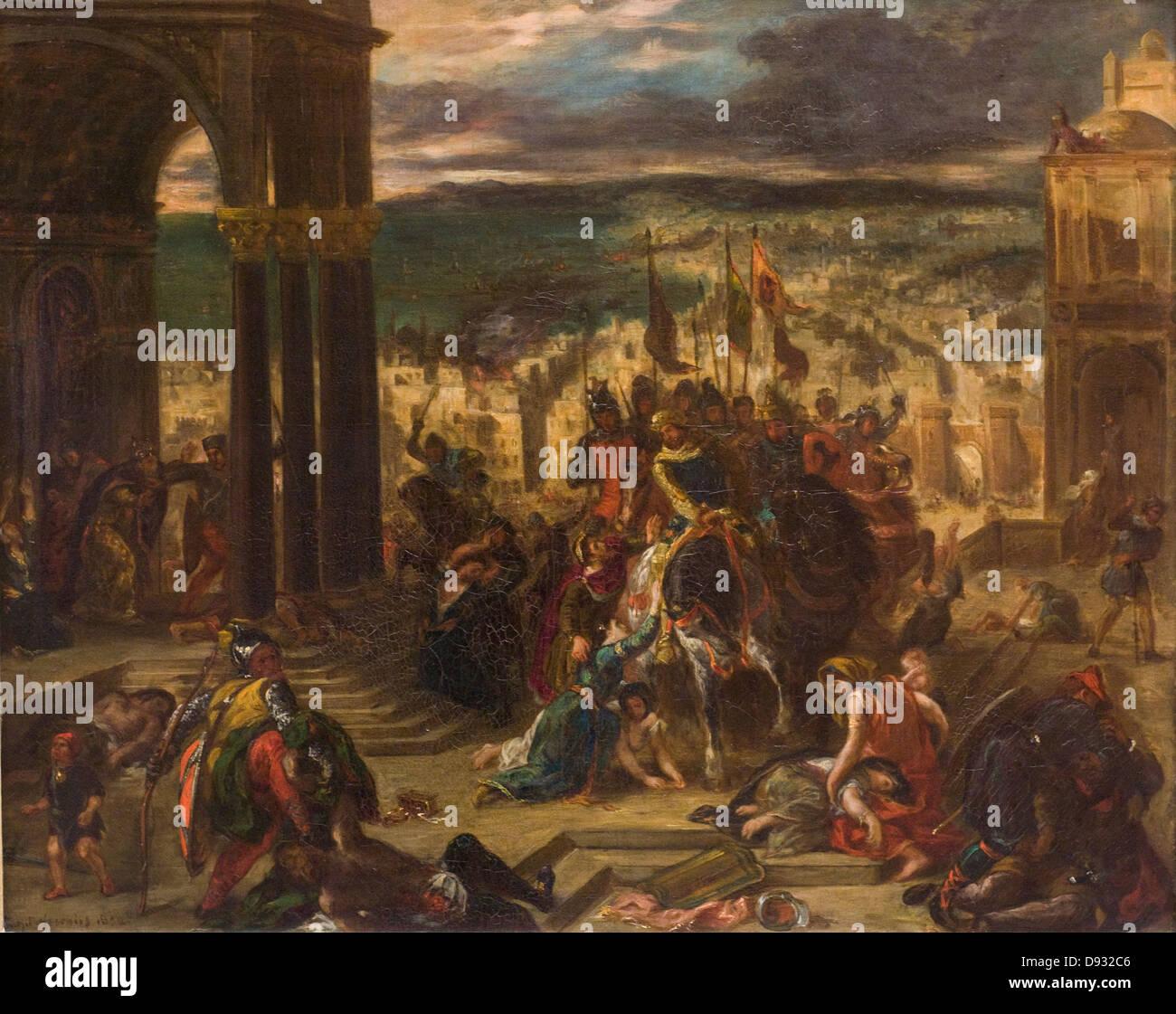 Eugène Delacroix Prise de Constantinople par les croisés - Taking of Constantinople by the Crusaders 1852 - Stock Image