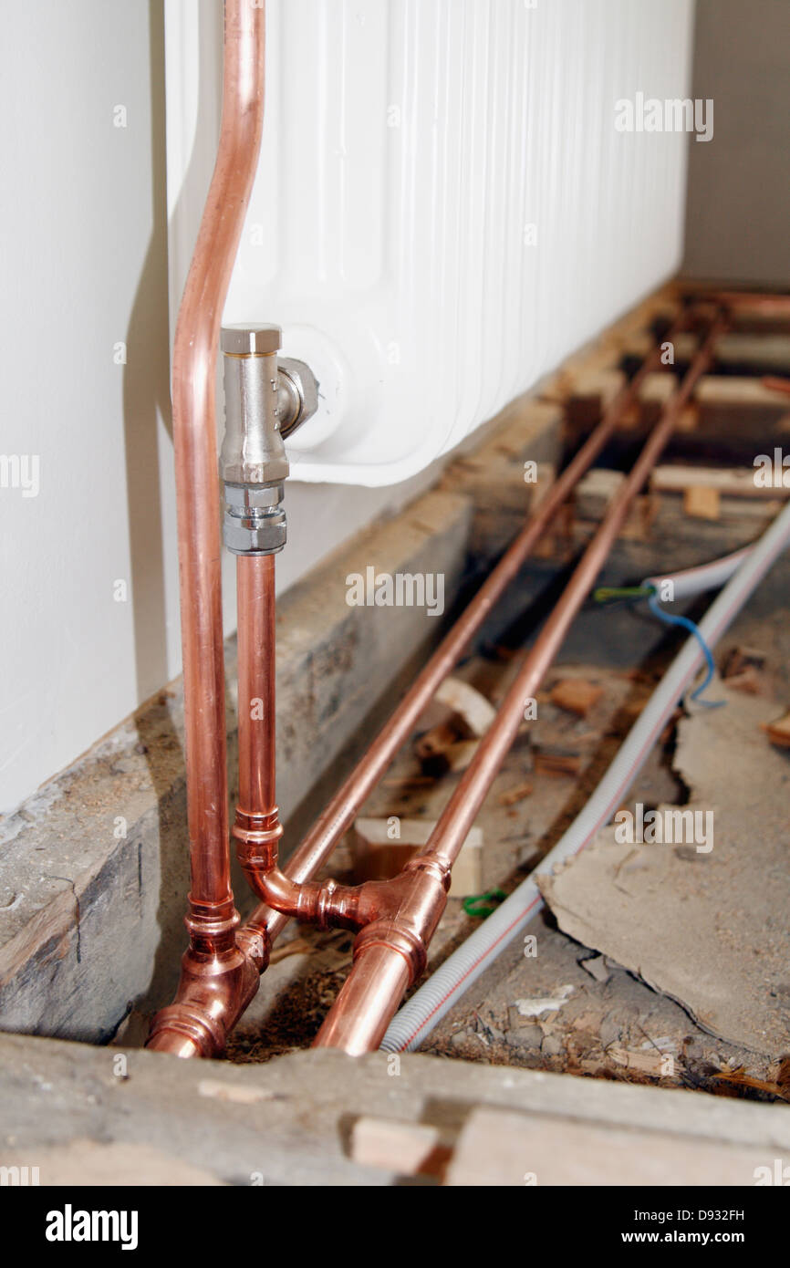 Close Up Of Central Heating Pipes Stock Photo 57230869