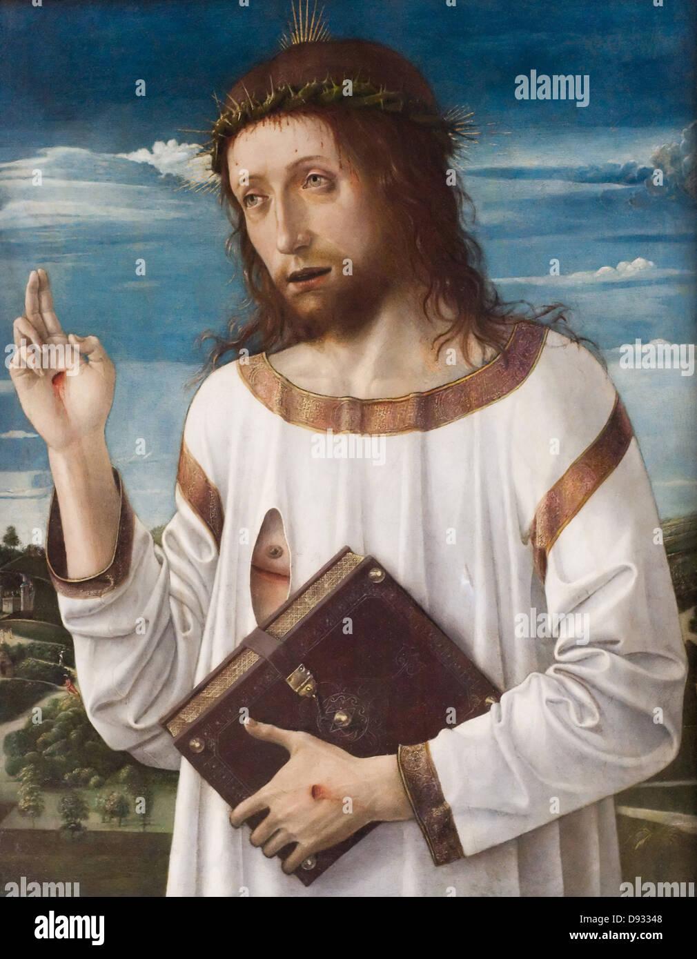 Giovanni Bellini Le Christ bénissant - Christ Blessing Around 1465 - 1470 Louvre Museum Italian school Oil - Stock Image