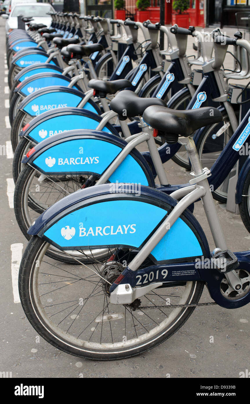 Boris Bikes in Kensington London. Barclays Cycle Hire is a public bicycle sharing scheme in London , England , UK Stock Photo