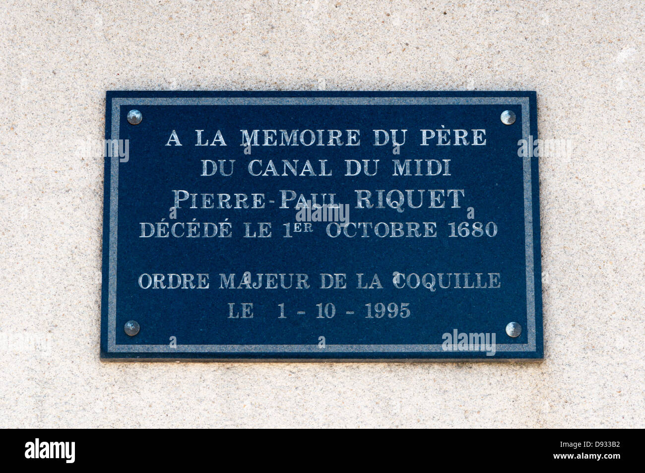 A memorial in Marseillan to Pierre-Paul Riquet, the architect of the Canal du Midi which reaches the Mediterranean - Stock Image