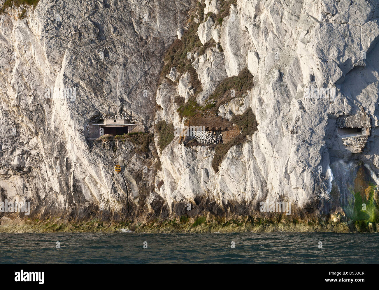 Gun emplacements at the base of chalk cliffs near Alum Bay Isle of Wight England UK - Stock Image