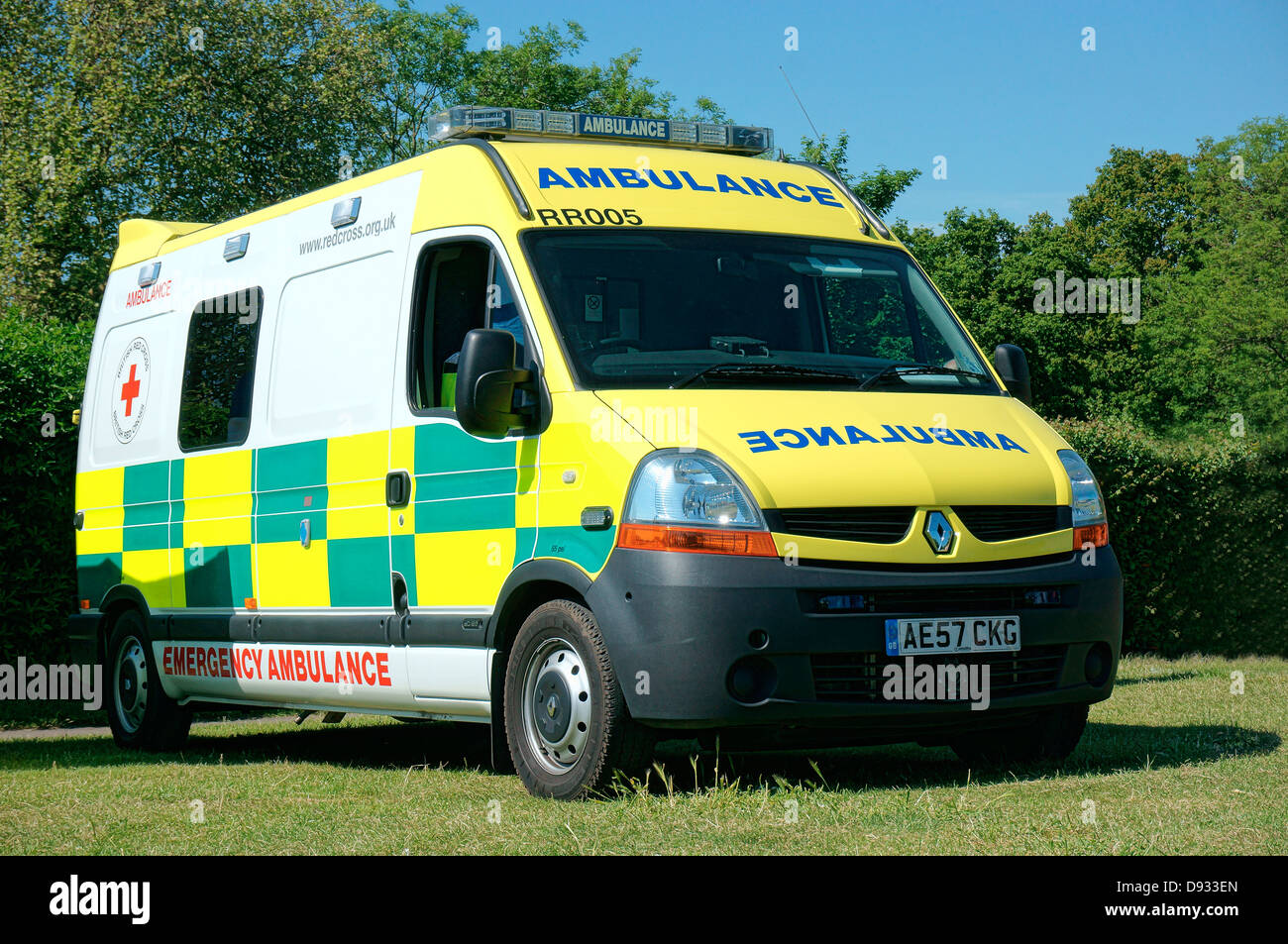 A stationary emergency ambulance, on standby at an outdoor summer fair. England, UK. - Stock Image
