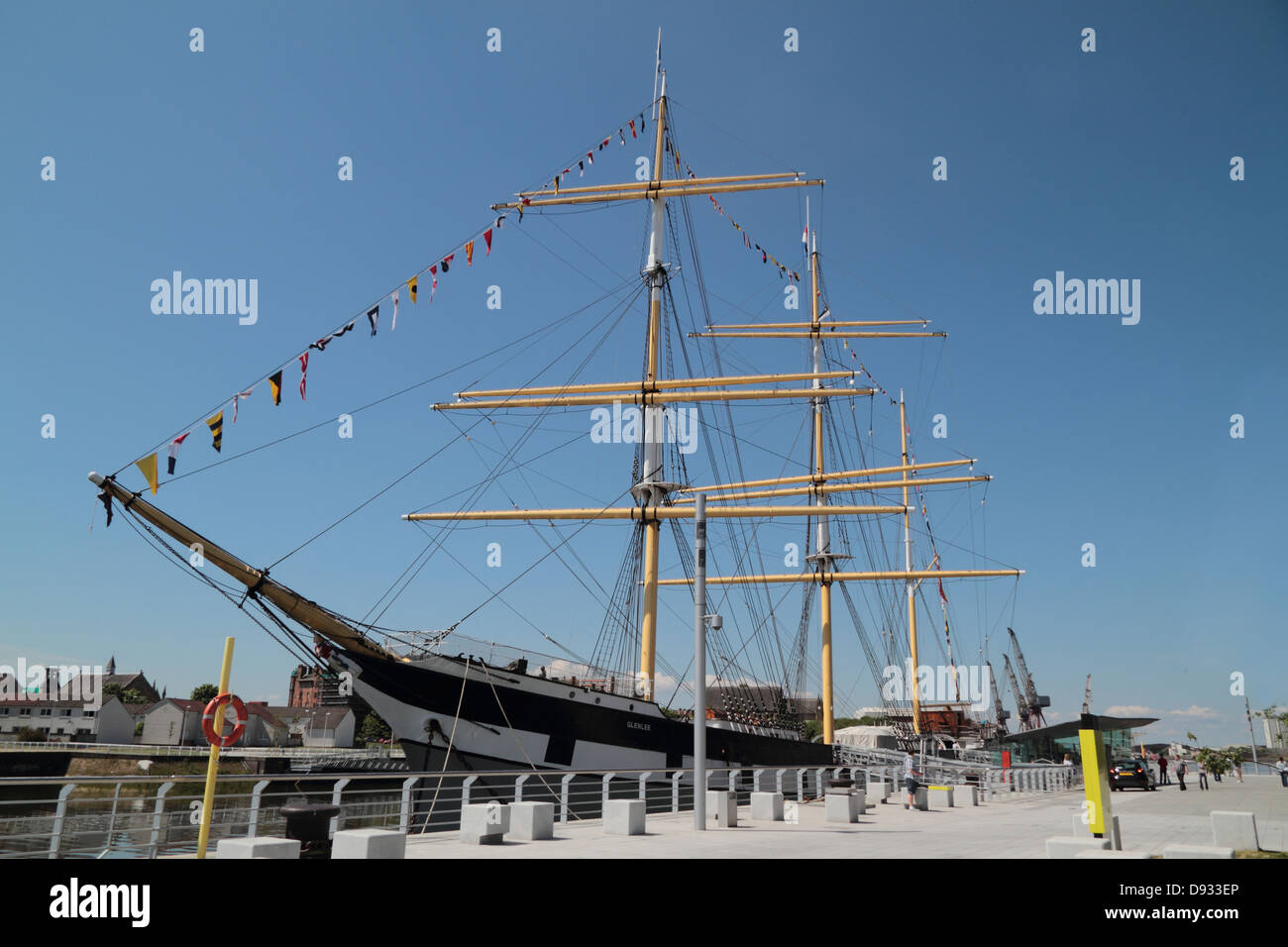 Glenlee is a steel-hulled three-masted barque, built in 1896 for Glasgow owners, trading as a cargo ship.  Glasgow, - Stock Image