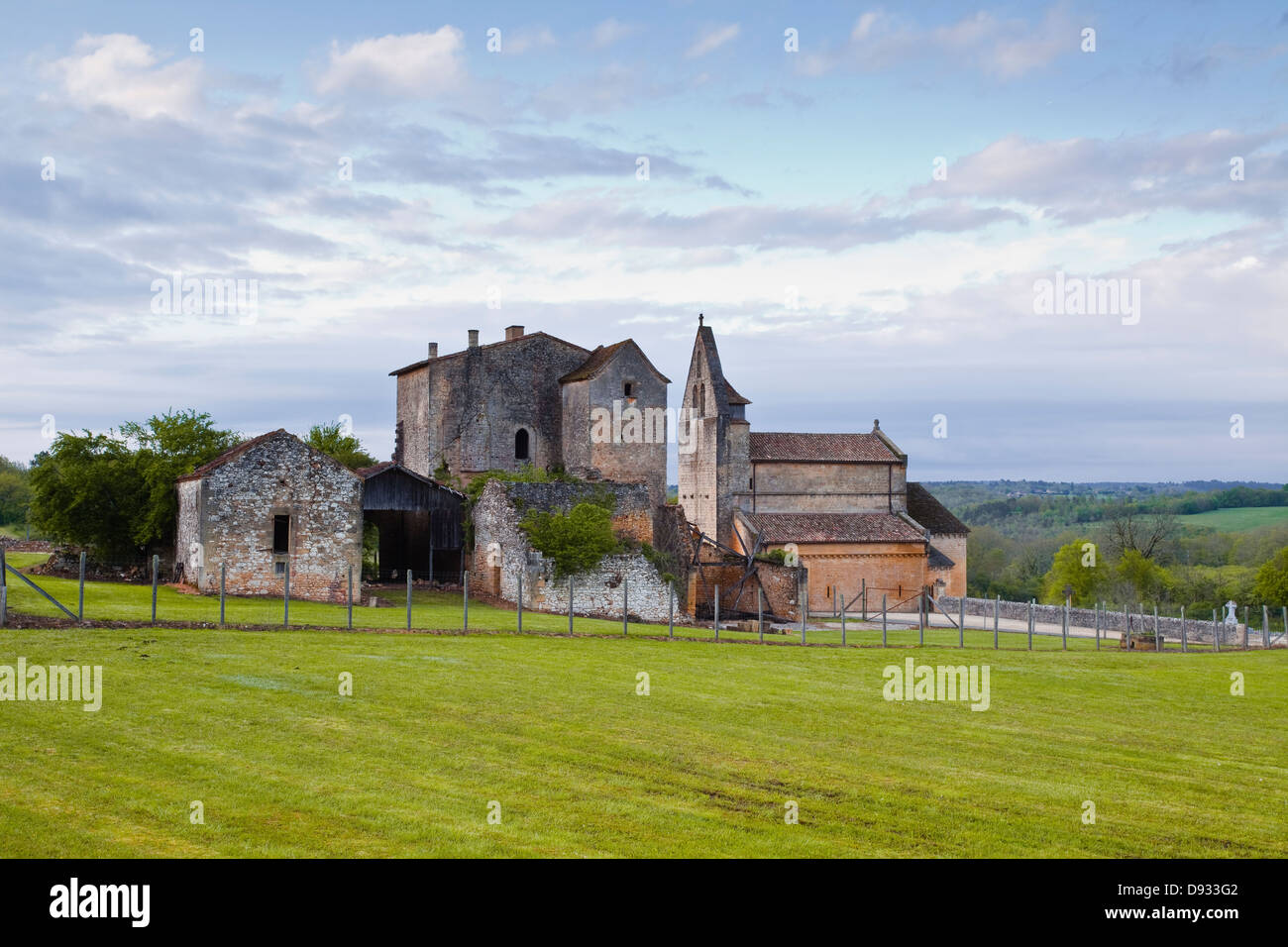 The church and old priory in Sainte Croix de Beaumont in the Dordogne area of France. Stock Photo