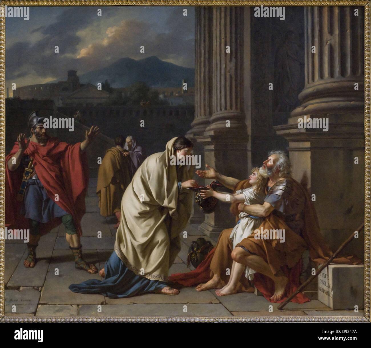Jacques-Louis David Bélisaire demandant l'aumône - Belisarius begging 1784 French school Louvre Museum - Paris Stock Photo