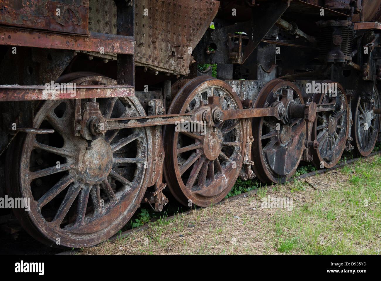 Rusty steam locomotive wheels Stock Photo