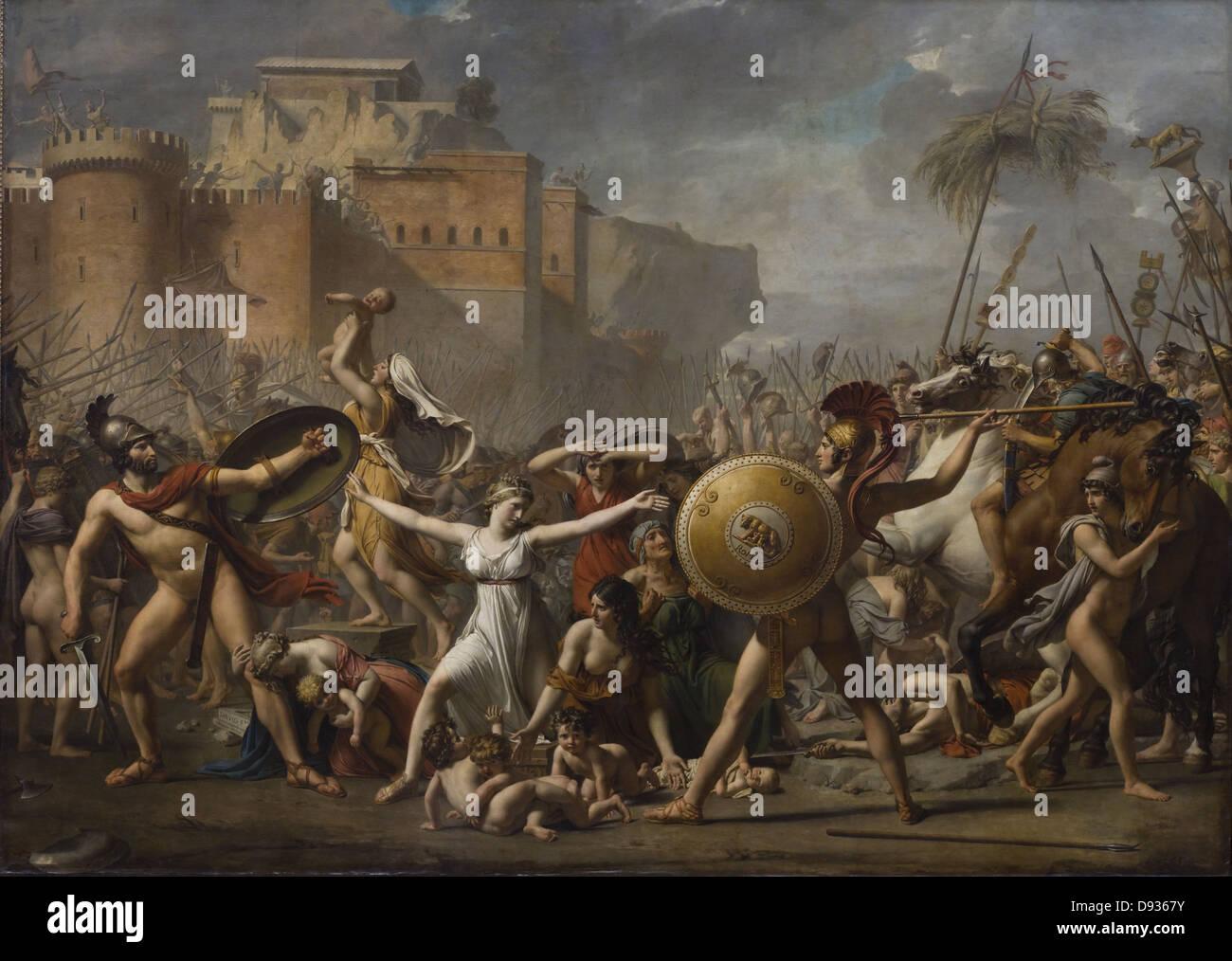 Louis David Les Sabines 1808 XIX th Century French school Louvre Museum - Paris - Stock Image