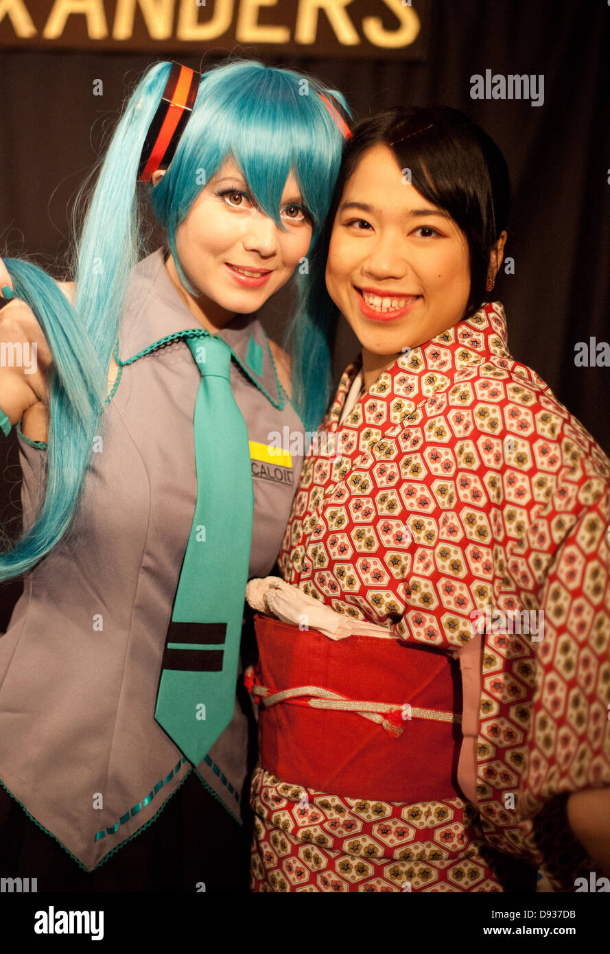 Manga Anime Cosplay Performer With Blue Hair And Young Japanese