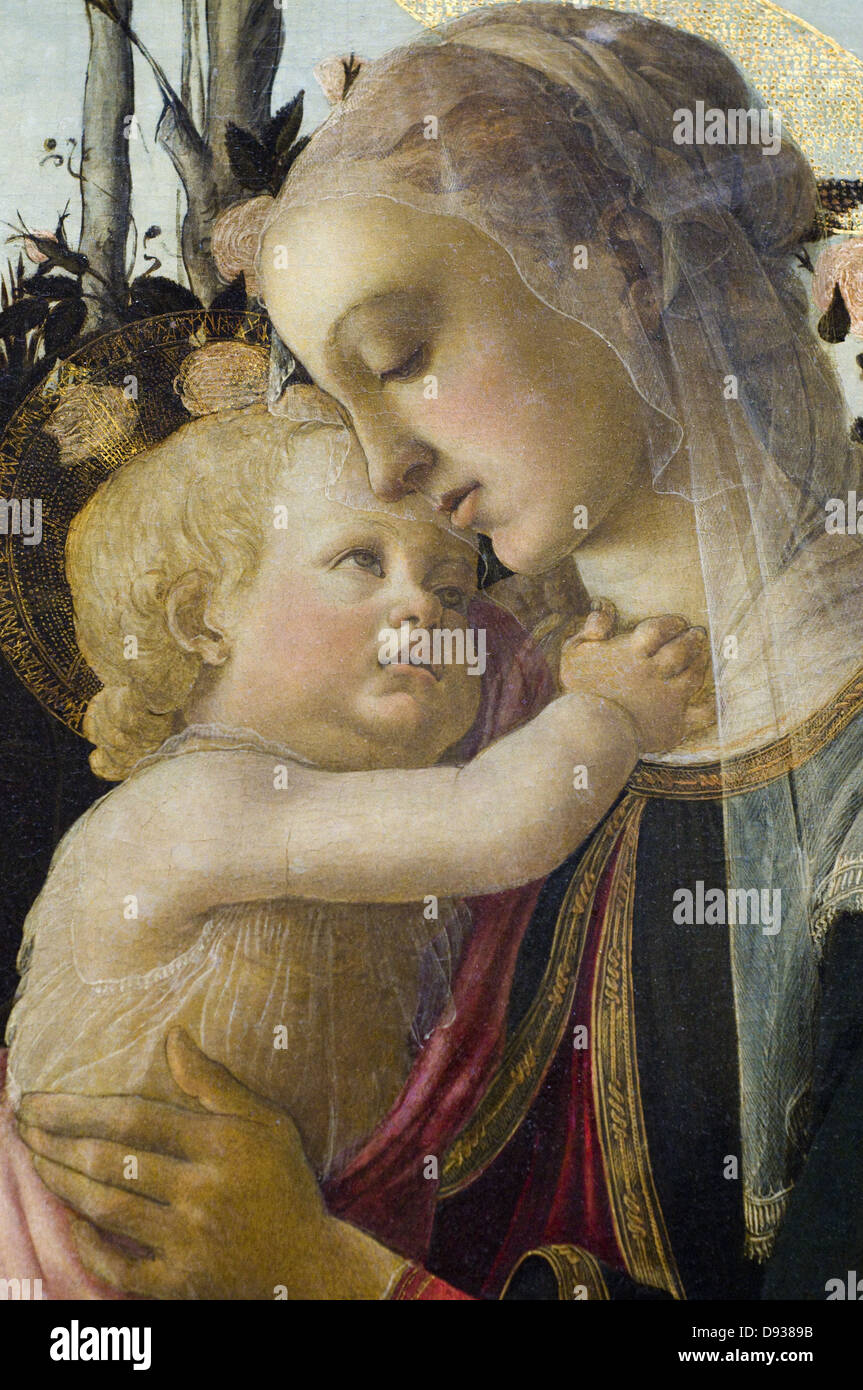 Alesandro Filipepi aka Botticelli The Virgin and the Child with the young Jean-Baptiste retail 1470 XV th Century - Stock Image