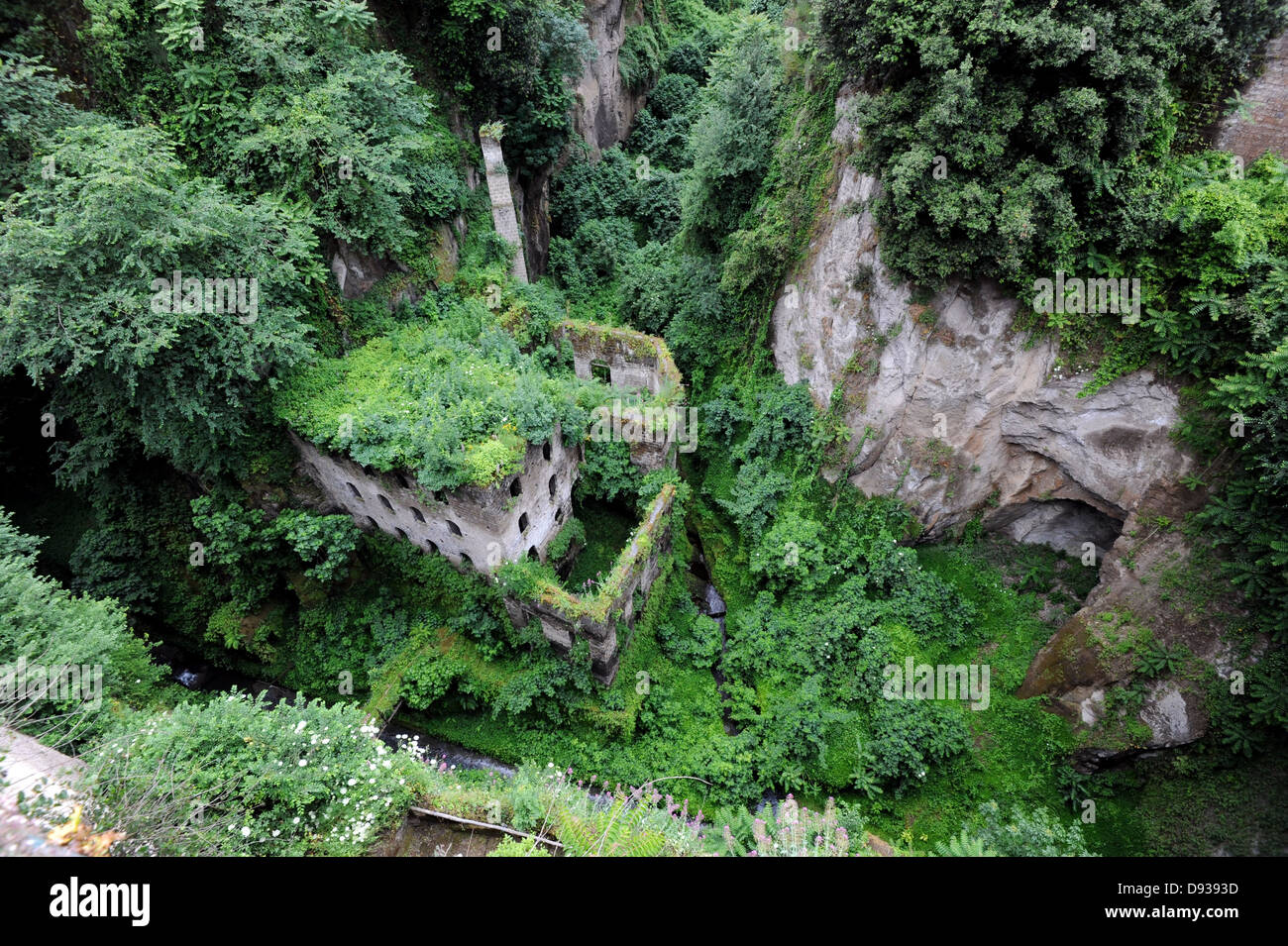 View of the Valley of the Mills an old abandoned flour mill in Sorrento - Stock Image