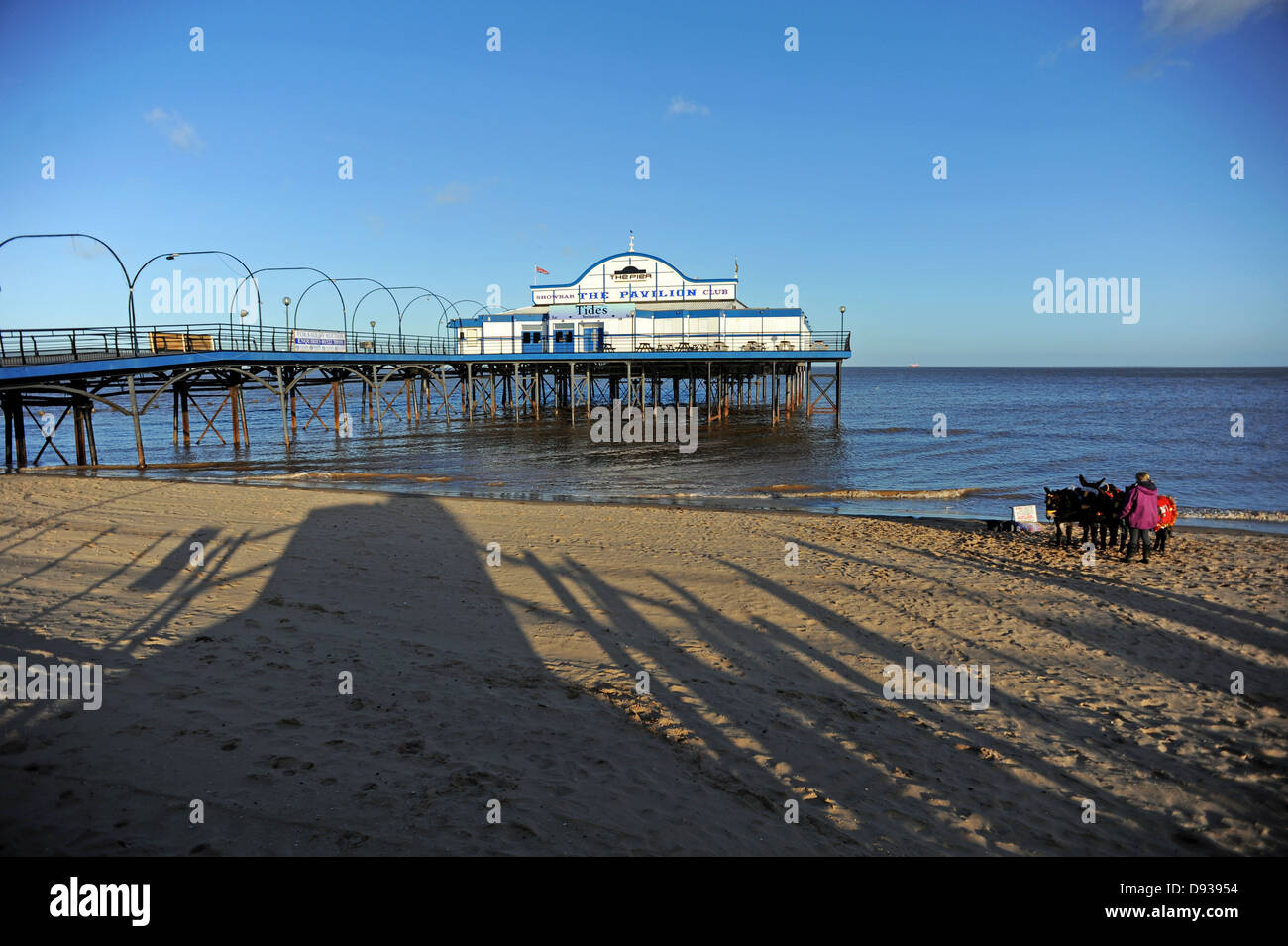 Cleethorpes Pier 39 a traditional victorian pier which is now a nightclub and is currently up for sale - Stock Image