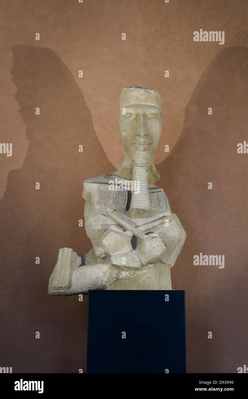 Le roi Aménophis IV - Akhénaton / King Amenhotep IV - Akhenaten sandstone Around 1350 Before JC Egyptian - Stock Image