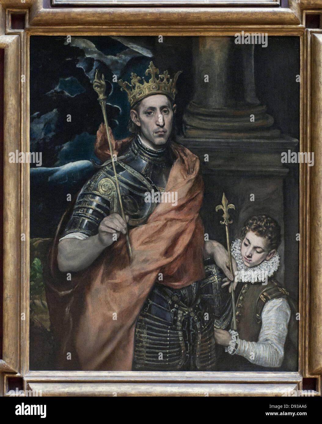 El Greco Saint Louis, roi de France et un page 1590 - Stock Image