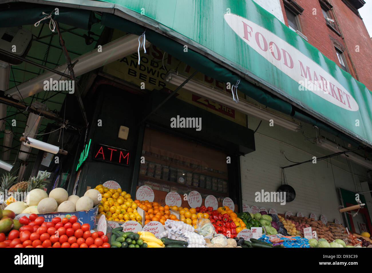 fresh produce on display at Food Market deli in New York City - Stock Image