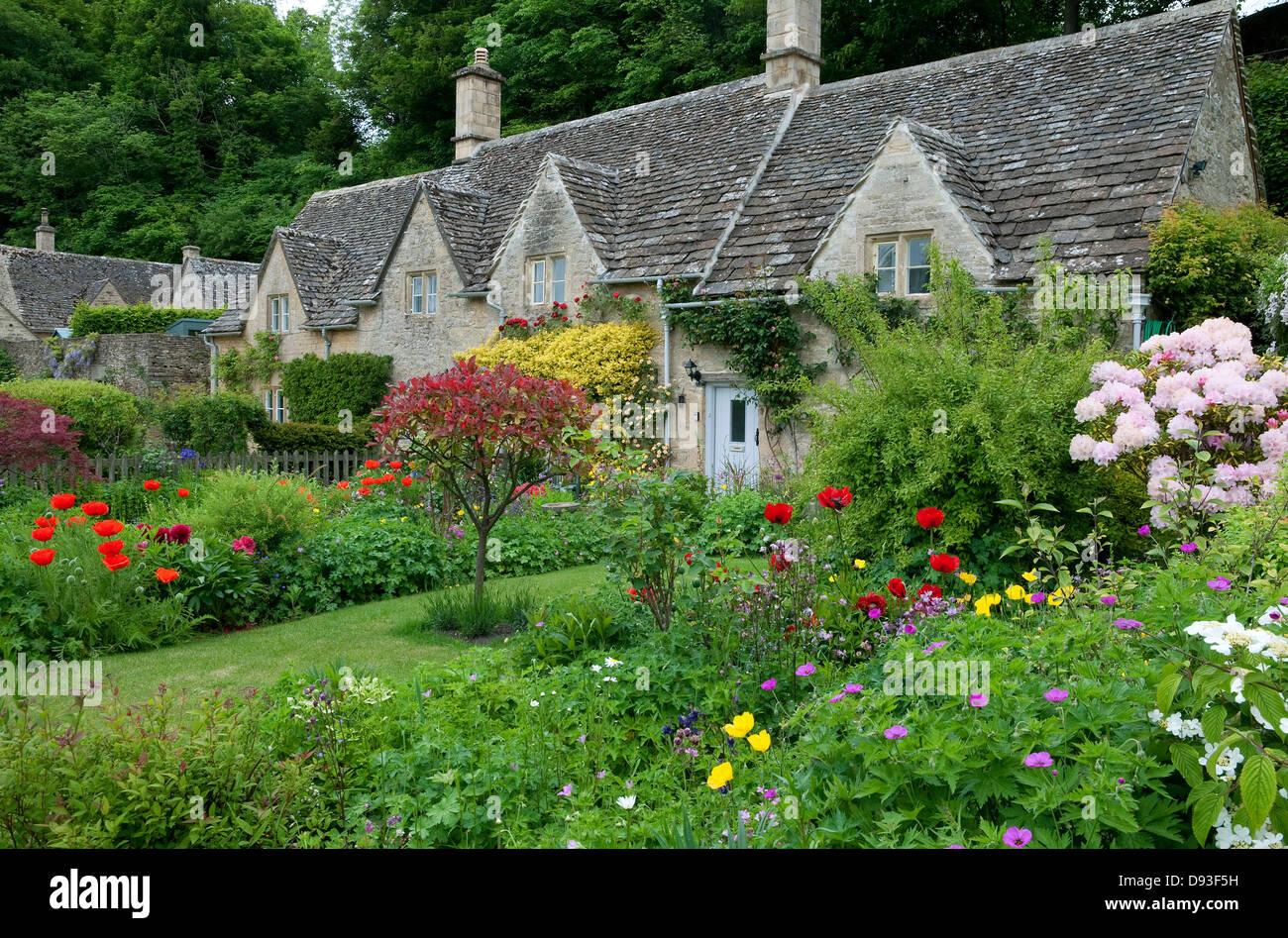 cottage garden, bibury, gloucestershire, england - Stock Image