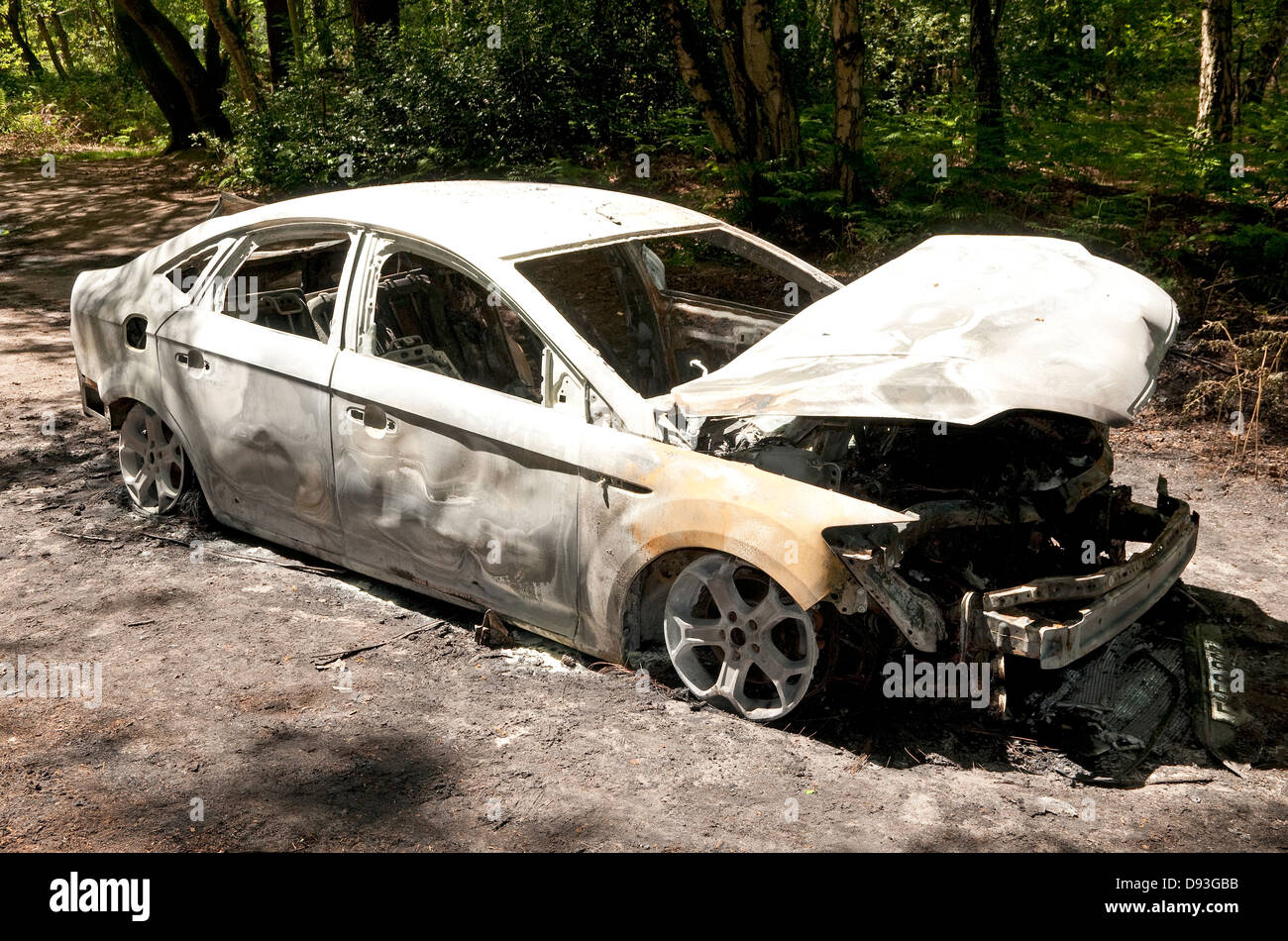 burnt out car in woodland park, norfolk, england - Stock Image
