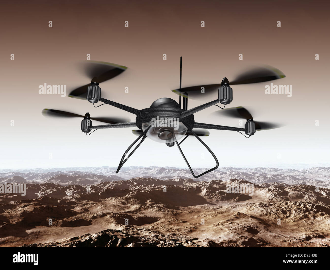 Illustration of a spy drone scanning a mountainous region - Stock Image