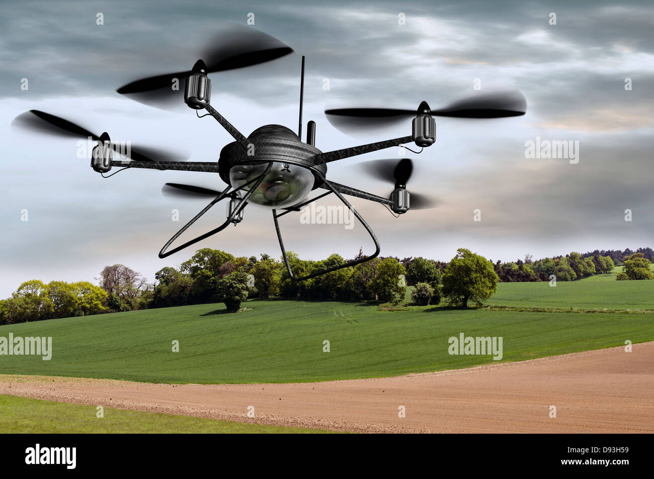 Illustration of a surveillance drone searching the countryside - Stock Image