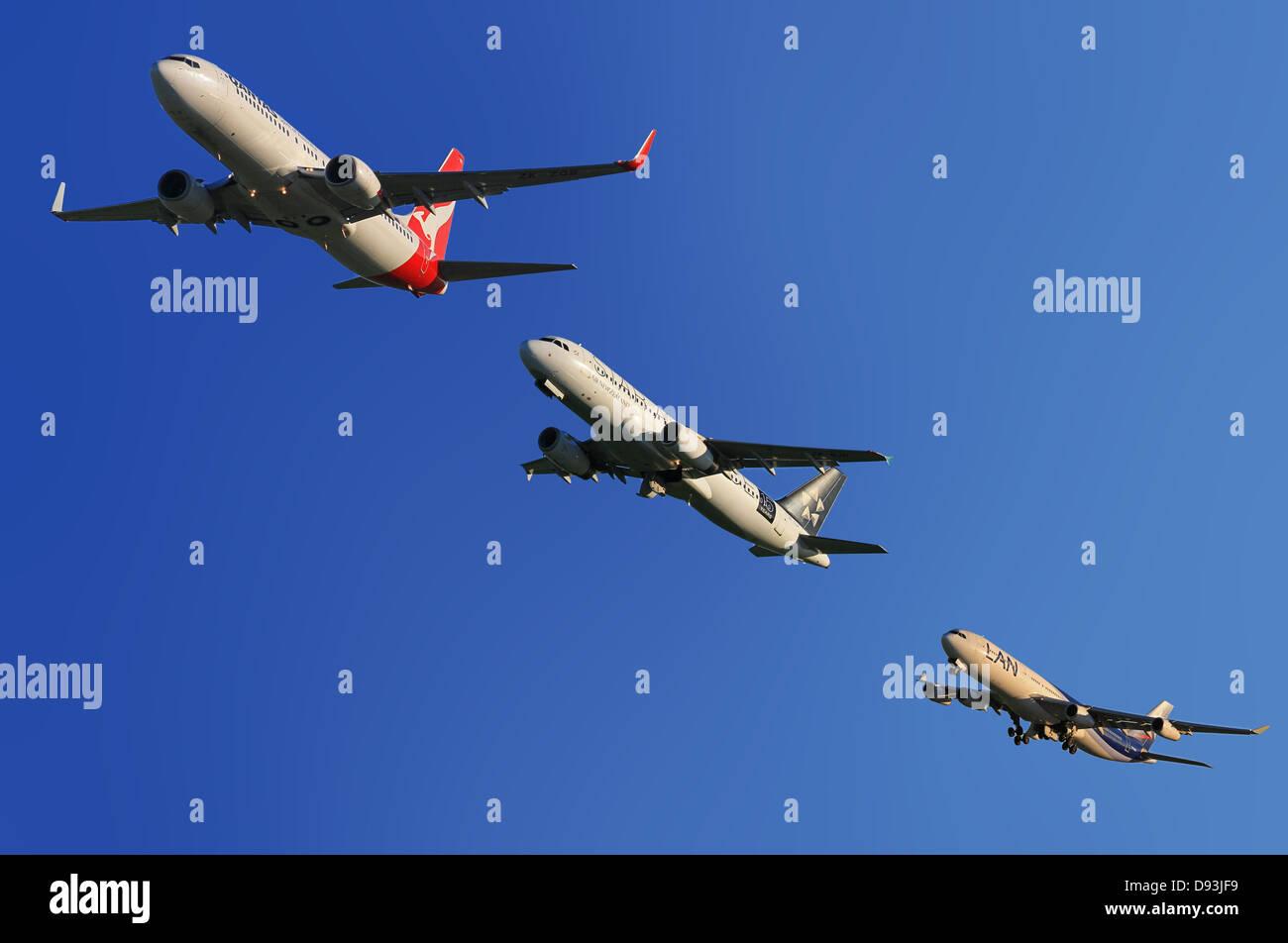 aircraft qantas air new zealand lan chile - Stock Image