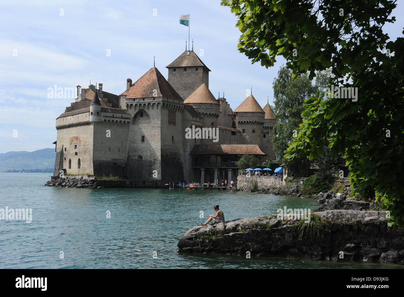 Castle Chillon at Montreux on lake Leman, Switzerland - Stock Image