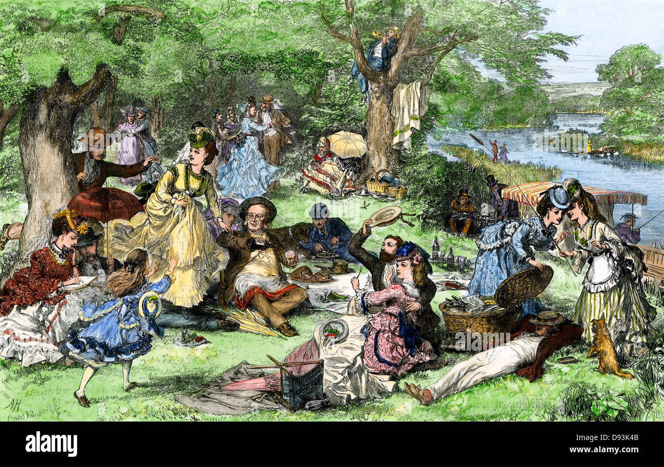Families having a summer picnic, England, 1870s. Hand-colored woodcut - Stock Image