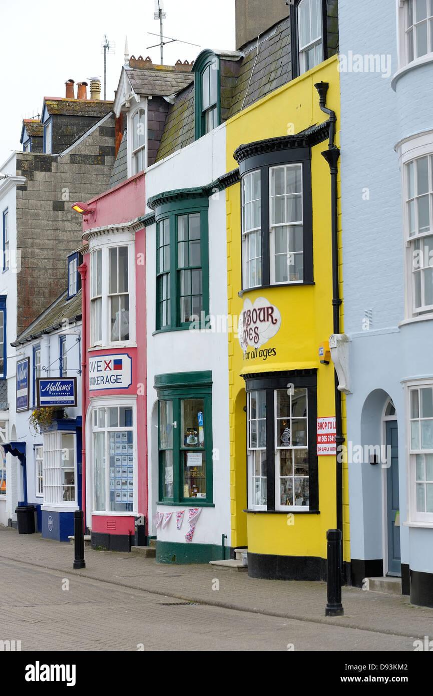 colourful shop fronts Weymouth Dorset England uk - Stock Image
