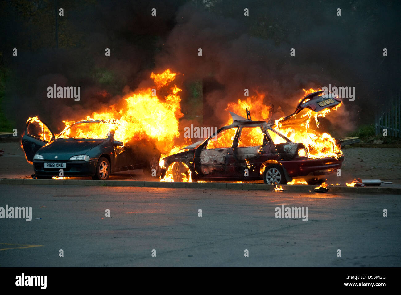 Two Cars On Fire Car Firefighter Stock Photo 57244616 Alamy