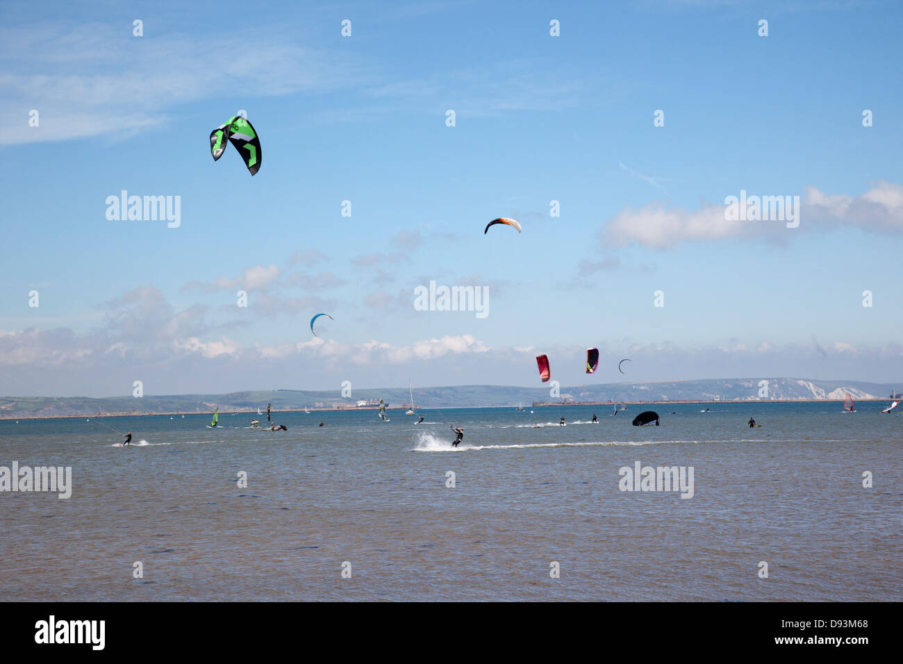 Kite surfers at Portland harbour, Dorset, UK - Stock Image