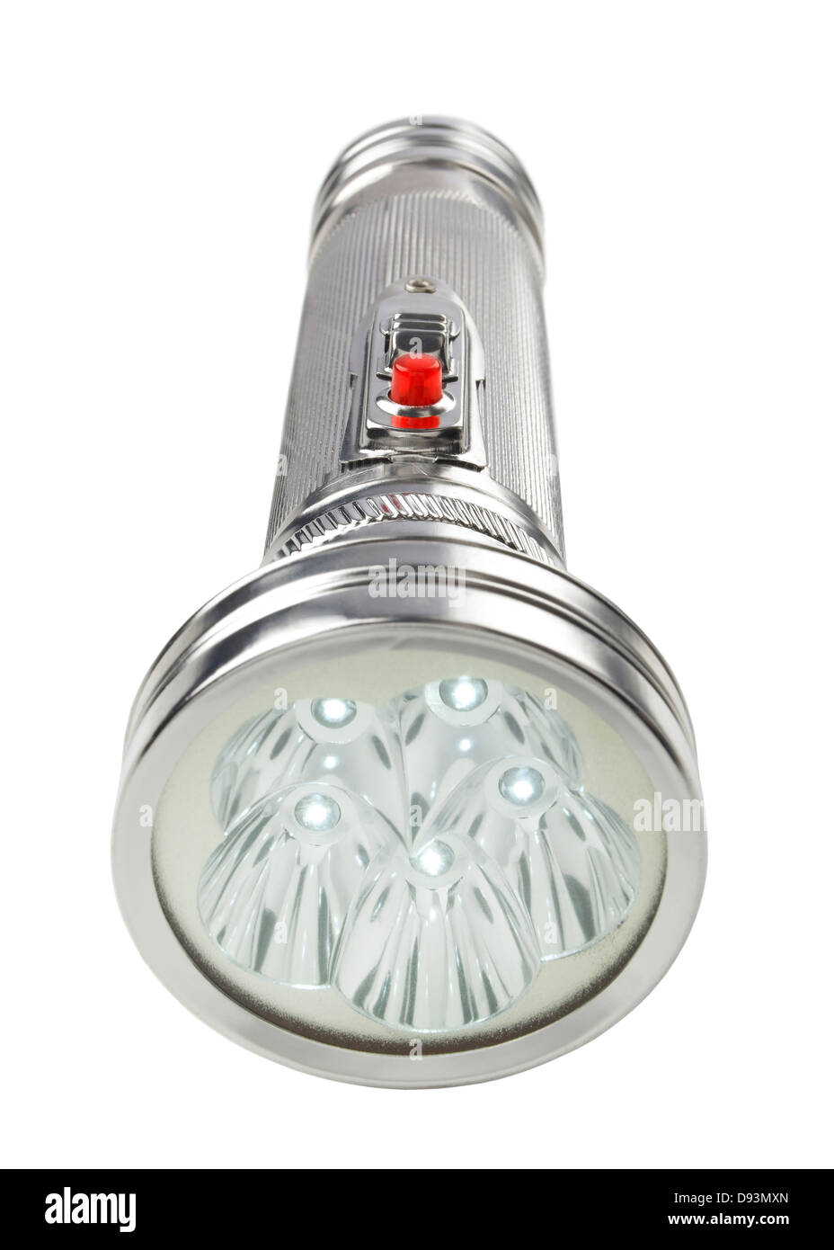 Chrome LED flashlight - Stock Image