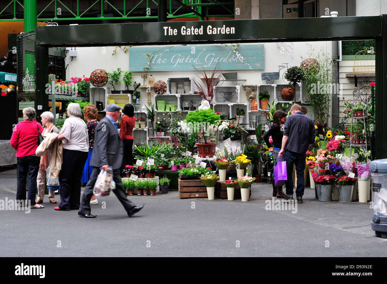 A general view of a flower shop in Borough market, London, UK - Stock Image